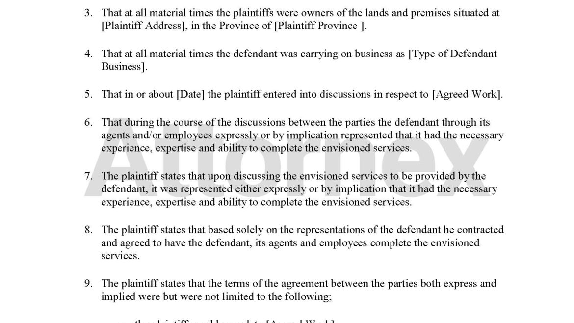 Plaintiff Claim for Breach of Contract
