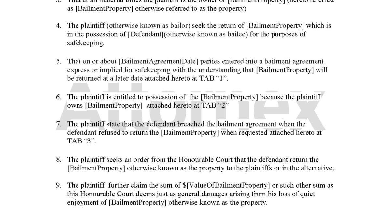 Plaintiff Claim for Breach of Bailment