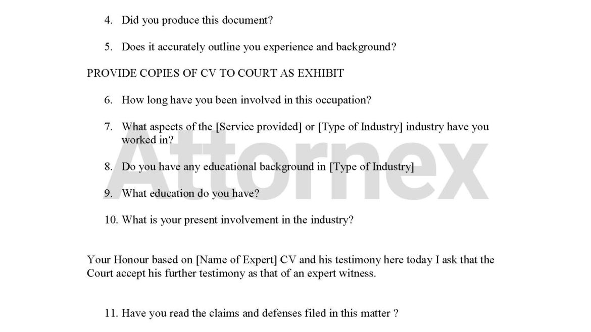 Chief Examination Questions – Expert Witness