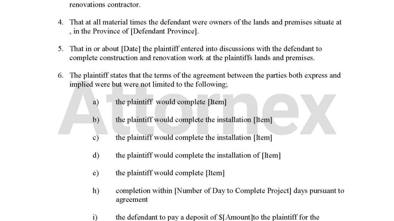 Plaintiff Claim for Home Renovation Contractor Regarding Services Rendered Unpaid Invoice