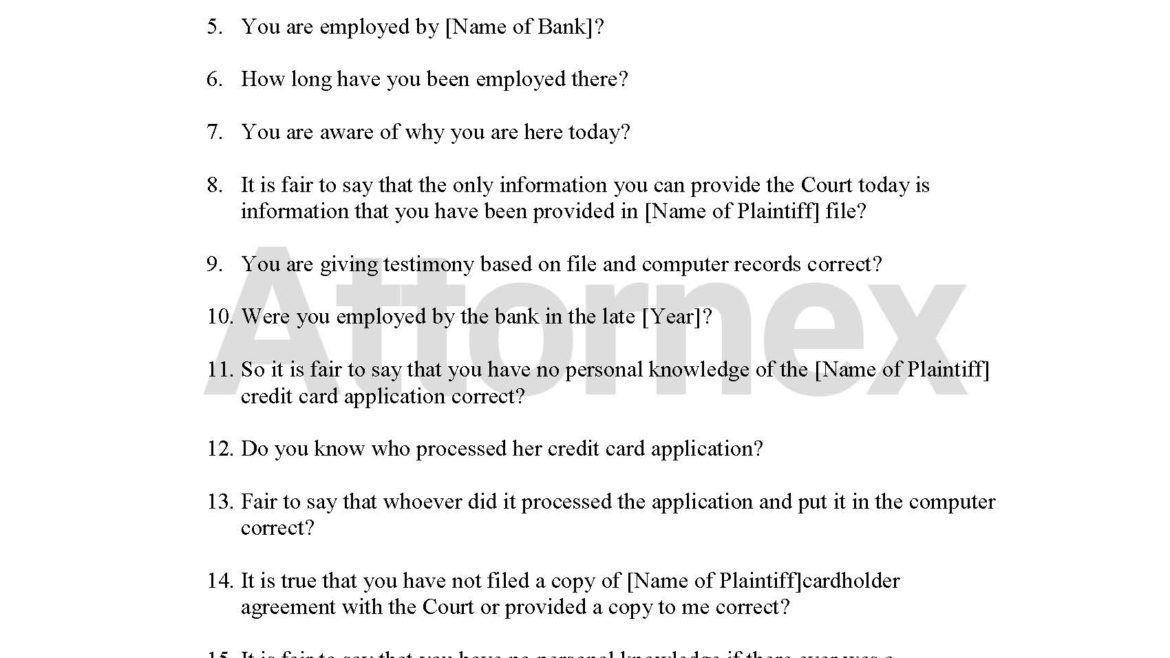 Cross Examination Questions for Bank