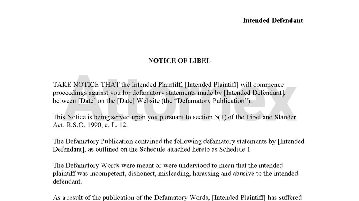 Notice of Libel
