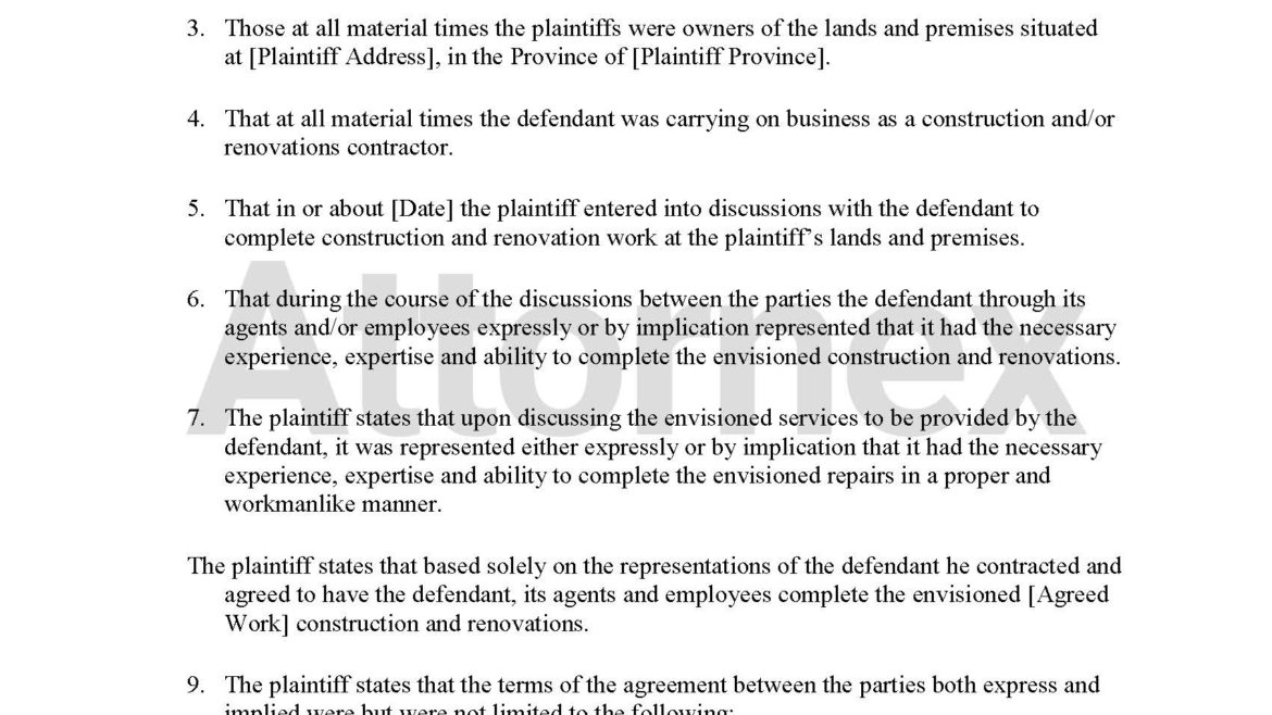 Plaintiff Claim for Home Renovation and Property Damage