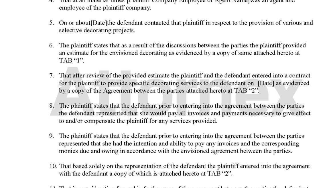 Plaintiff Claim for Interior Design