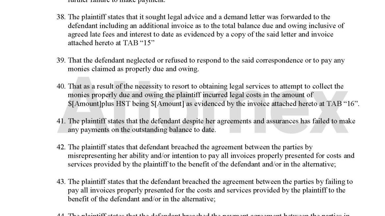 Plaintiff Claim for Mechanic Failed Repairs