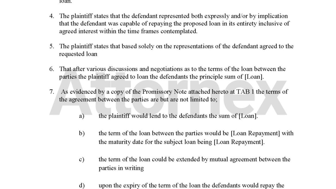 Plaintiff Claim for Loan or Promissory Note