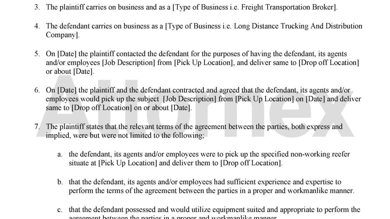 Plaintiff Claim for Logistics Property Damage