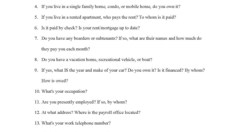Examination Questions for Personal Debtor
