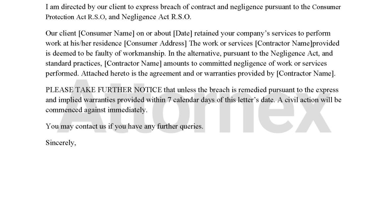 Pre-Litigation Letter to Contractor Regarding Faulty Workmanship