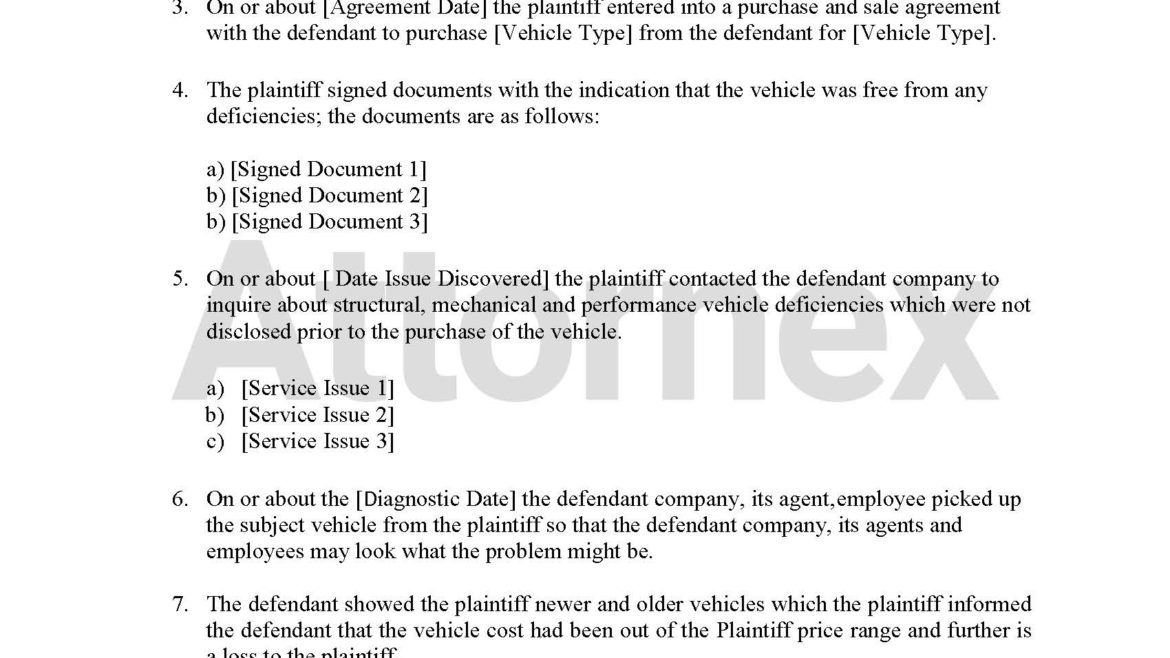 Plaintiff Claim for Sale of Motor Vehicle Regarding Non-Disclosure of Mechanical or Structural Defect