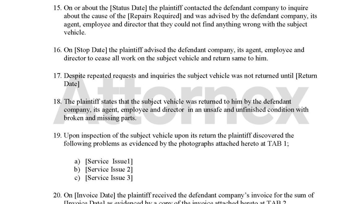 Plaintiff Claim for Mechanic Failed Repairs
