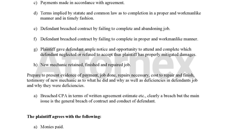 Settlement Conference Memorandum for Mechanic Failed Repairs