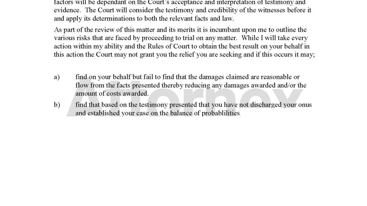 Letter to Client Prior to Trial Outlining Risk