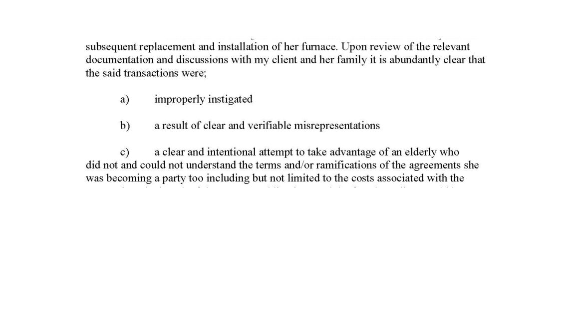 Pre-Litigation Letter to door-to-door home service company regarding misrepresentation and replacement of HVAC System